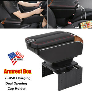 7 -USB Charging Car Dual Opening Armrest Box Central Console Cup Holder Adjust
