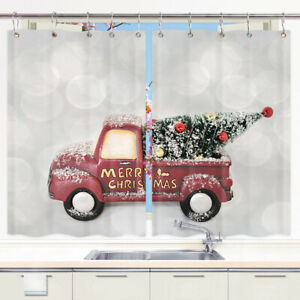 """Christmas Red Car Window Curtain Treatments Kitchen Curtains 2 Panels 55X39"""""""