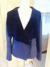 NWT Escada dark blue US 6 shearling sheepskin jacket coat retailed $ 4650