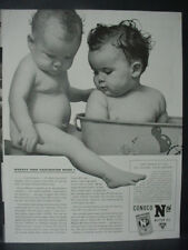 1941 Cute Babies in Bathtub Conoco Nth Motor Oil Vintage Print Ad 12617