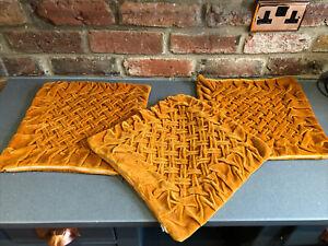 3 Genuine Vintage Mid Century Rust Orange Velvet Pintuck Pleated Cushion Covers
