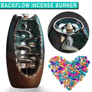 Ceramic Backflow Waterfall Smoke Incense Burner Censer Holder Gifts 20 Cones AU