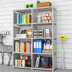 8 Cube Bookcase Book Shelf Storage Cube DIY Combination Ladder Stand Rack