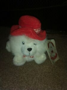 Collectible russ snowball the dog with red hat plush soft toy, with tags