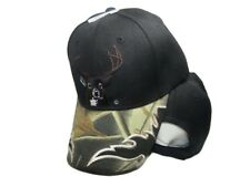 Deer Buck Head Antlers Hunter Hunting Camo Top Black Bill Embroidered Cap Hat