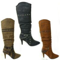 LADIES WOMENS KNEE HIGH BLOCK HEEL POINTY STUD CHAIN BUCKLE WINTER BOOTS SIZE