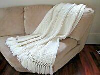 Hand Crochet Afghan Throw Ivory Popcorn Diamond Stitch fringe Farm Cottage Chic