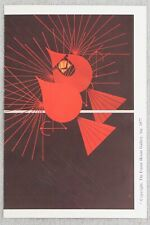 1977 Charley Harper Seeing Red Frameable Print Advertising Cardinal Postcard 4x6