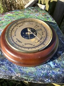 """Vintage Wall Hung Round Aneroid Barometer-6""""Diameter-Good Clean Functional Piece"""