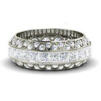 3.60 Ct Princess Cut Diamond Eternity Wedding Ring 14K White Gold Band Size 7