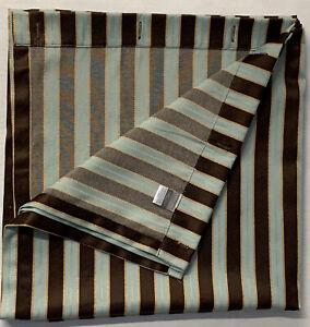 Croscill Home Fabric Shower Curtain Brown Teal Stripes 72 x 74