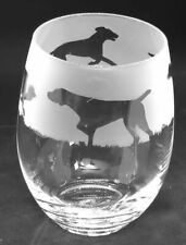 More details for german shorthaired pointer frieze boxed 36cl crystal stemless wine / water glass