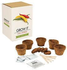 Reduced Gift Republic Grow It Kit Grow Your Own Five Chilli Plants Set Fun Xmas