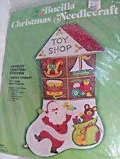 Santa's Toyshop  Jeweled Felt Christmas Stocking Kit 2812 Bucilla New