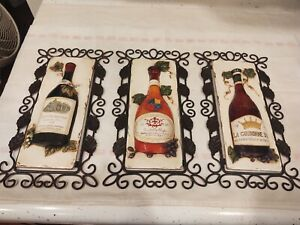 "Vintage Wine Bottle Sculptured On Metal Hanging Set of Three 11 1/2"" x 6"""