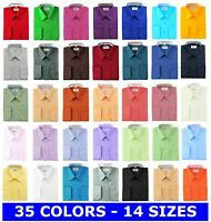 BERLIONI ITALY MEN'S DRESS SHIRT FRENCH CONVERTIBLE CUFF DRESS SHIRT ALL COLORS