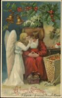 Christmas - Angel Whispers in Old World Santa Claus Ear c1910 Postcard