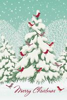"Boxed Christmas Cards Snowy Tree Bird Design, 4"" x 6"", 16 Cards and 17 Envelopes"