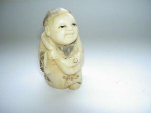 Antique Chinese Bovine Bone Signed Netsuke Carving   (2)
