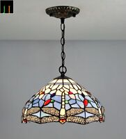 New JT Tiffany Stained Glass 12 Inch Shade Blue Dragonfly Pendant Lamp Home Art