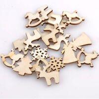 30PCS 20mm Embellishments Snowflakes Wooden Blank Rocking Horse Reindeer Tree
