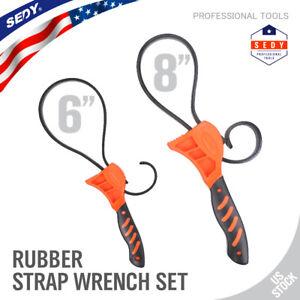 2 pc Rubber Strap Wrench Adjustable Hand Held Lid plumbing tighten or loosen