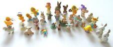 Vtg Lot Hallmark Merry Miniatures Easter Ducks Lambs Bunnies Mice Flocked 34 pcs