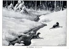 Zwei Fischotter am Waldbach von A.Mailick Grafik Vignette c.1927