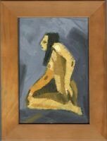 """Russischer Realist Expressionist Öl Pappe """"Akt"""" 15x10 cm Rahmen 19x14 cm"""