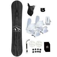 Symbolic Knotty WIDE Snowboard +Bindings WHT Package Leash+Mask+Stomp+ Burton 3d