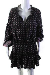 Misa Womens Puff Sleeve V-Neck Blouson Dress Black Pink Size X-Small