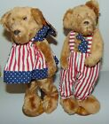 """Goffa 4th of July Patriotic Plush BEARS with Red White Blue Clothes Stands 12"""""""