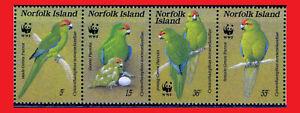ZAYIX - 1987 Norfolk Island 421 MNH - World Wildlife Fund / Green Parrot / Birds