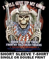 SECOND AMENDMENT NEVER GIVE UP MY PISTOL HAND GUN SKULL COWBOY HAT T-SHIRT WS227