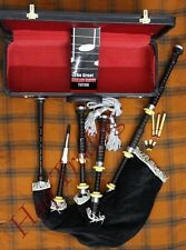 Great Highland Bagpipe African Black Wood. Packed in velvet lined wood carry box