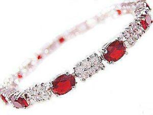 Fashion Red Zircon Bracelet Bangle Cuff 18k Gold Plated Costume Jewelry 7.5 inch