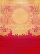 PAINTING DRAWING ORIENTAL TEMPLE SUNSET RED KOI CARP ART PRINT POSTER MP3804A
