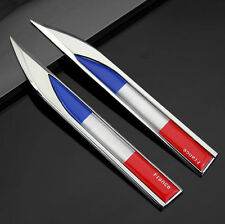 2X French France Flag Auto Car Metal Knife Side Badge Emblem Decal Sticker Gift