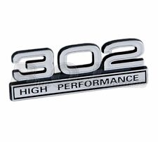 "Ford Truck, Mustang White & Chrome 302 High Performance Fender Emblem 4"" x 1.5"""