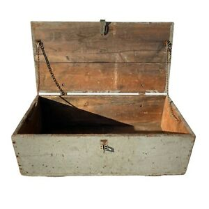 Worn Gray Mid Century Wooden Ammo Crate