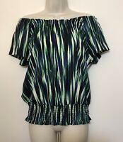 Michaels Kors Small Blouse Green Blue Short Sleeve Off The Shoulder Banded Hem