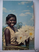 VINTAGE COLOUR PHOTO POSTCARD ABORIGINAL GIRL AUSTRALIA SWIMMING WITH LILIES
