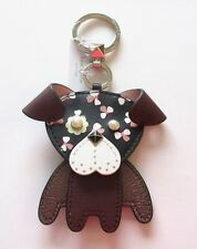 kate spade key/fob - Dog- movable-brown pink flowers -pearl eyes