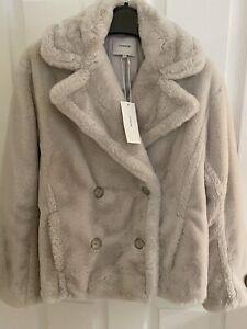 New Vince Faux Fur Double Breasted Jacket in Creamy Beige size XXS