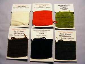 5m Pack of 3.5mm Nylon Chenille in ASSORTED COLOURS pick from menu Fly Tying