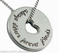 Always Sisters Forever Friends Necklace Stainless Steel Silver Sister Friend