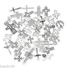 30PCs BD Dull Silver Tone Mixed Cross Shape Pendants Fashion Charm Jewelry