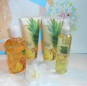Bath & Body Works Fresh Pineapple Lot Splash + Body Cream + Shower Gel X 4 RARE
