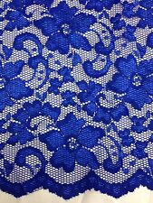 "New  Royal Blue Stretch Floral Lace Fabric Double Scalp Border 59"" 150 Cm"
