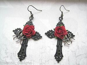 SILVER SPIDER BLACK CROSS RED ROSE Large Gothic Pair of Earrings Halloween Goth